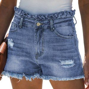 WRAPPED UP IN LOVE PAPER BAG DENIM SHORTS